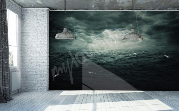 Sea storm mural for living room