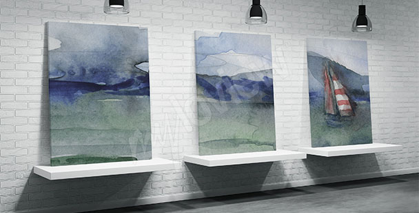 Sea triptych for bathroom