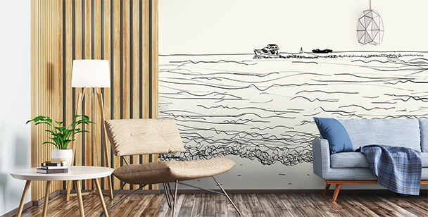Sea wall mural for the living room