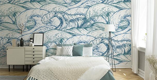 Sea waves mural