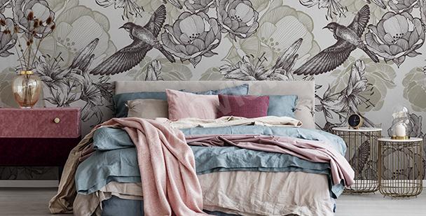 Sepia birds wall mural