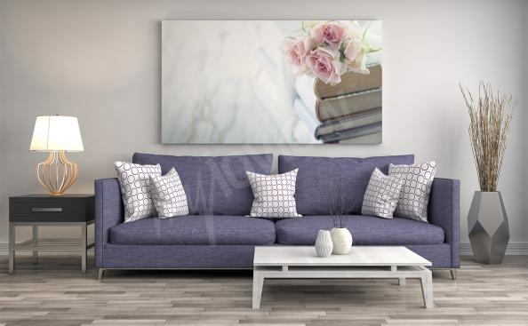 Shabby chic flowers canvas print for living room