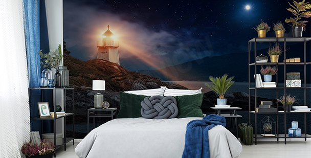 Shining lighthouse mural