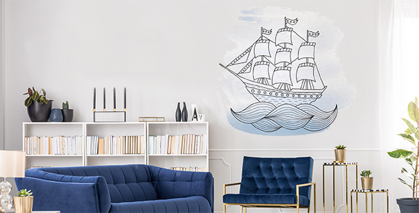 Ship on the sea sticker