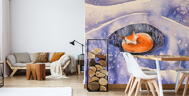 Sleeping fox mural