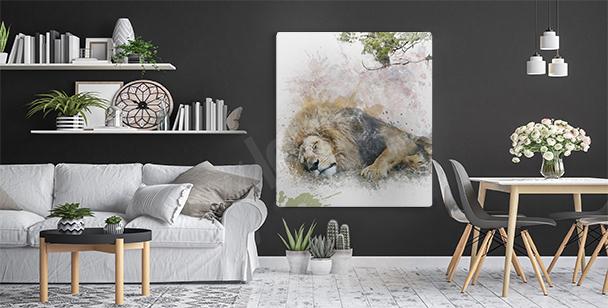 Sleeping wild cat canvas print