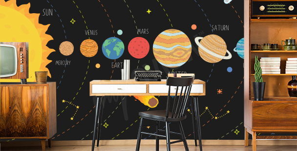 Solar System mural for the office