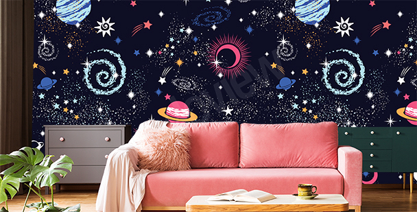 Space constellations mural