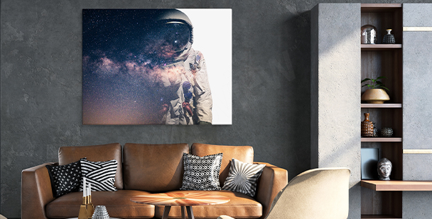 Space living room canvas print