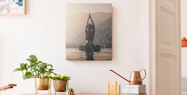 Sport by a lake canvas print