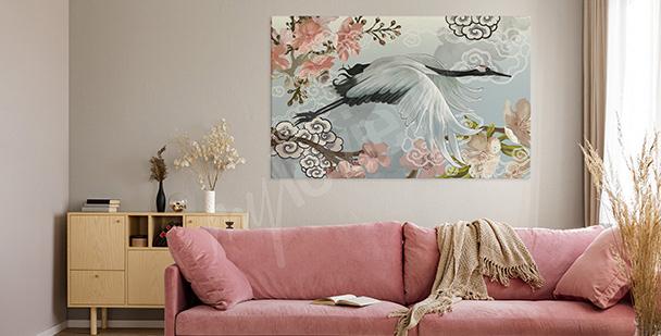 Spring heron canvas print