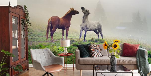 Stallions in the mist mural