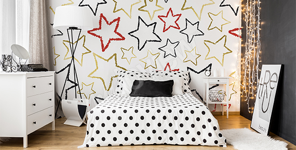 Stars mural for girls