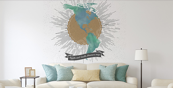 Sticker retro map of the Americas