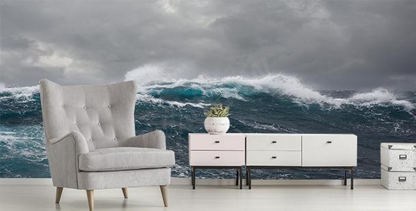 Storm at sea mural