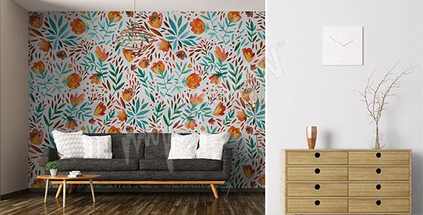 Stylish living room mural