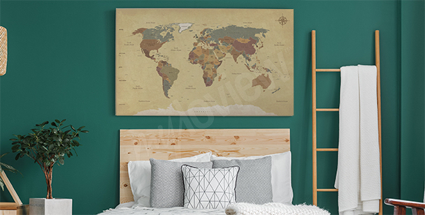 Subtle retro map canvas print