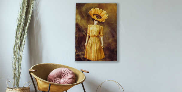 Sunflower and a woman canvas print