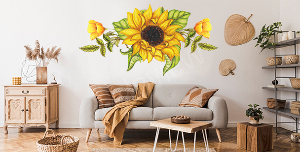 Sunflower sticker for the living room