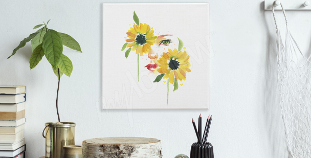 Sunflowers and a woman canvas print