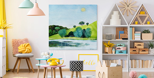 Sunny canvas print in green