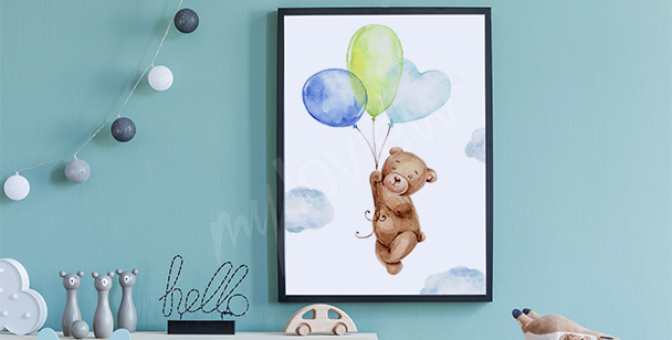 Teddy bear and balloons poster