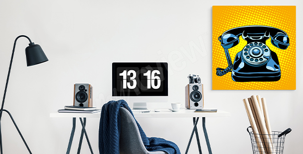 Telephone motif canvas print