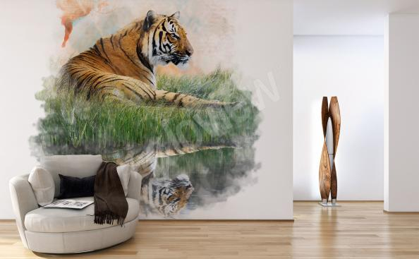 Tiger in the nature mural