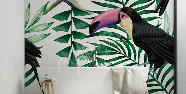Toucan among leaves sticker