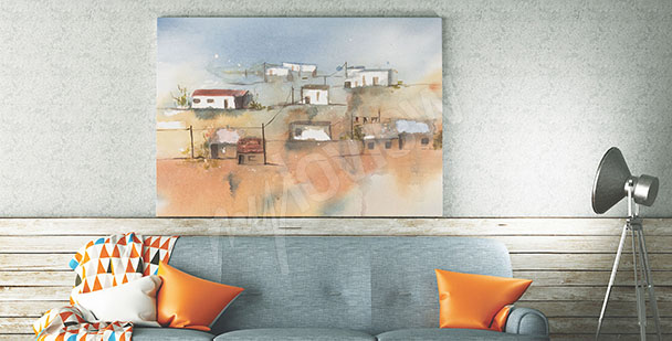 Town canvas print for living room