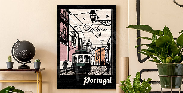 Tramway in Lisbon canvas print