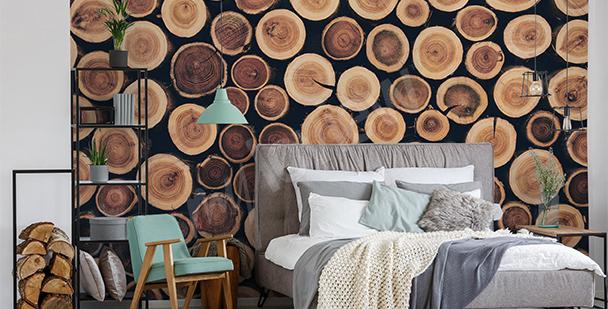 Tree trunks mural