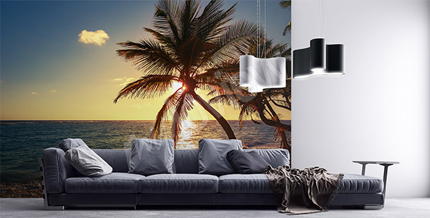 Tropical sea waves mural