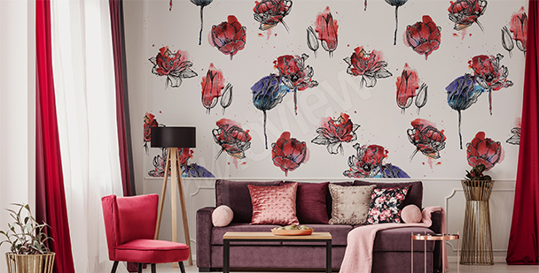 Tulip pattern wall mural