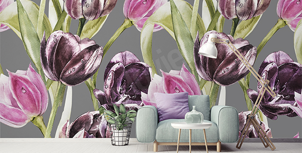 Tulips and dew drops wall mural