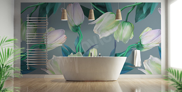 Tulips mural for the bathroom