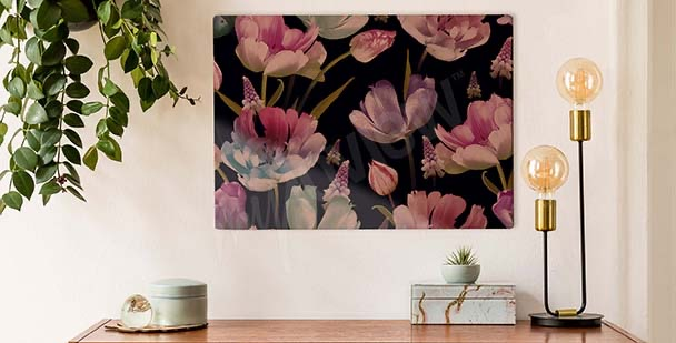 Tulips on a dark background canvas print
