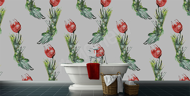 Tulips wall mural for the bathroom