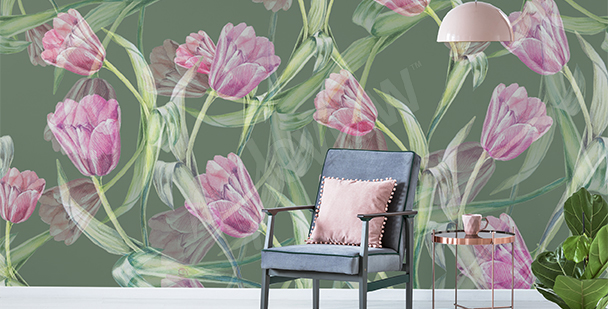 Tulips wall mural for the living room