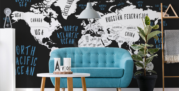 Typographic map mural