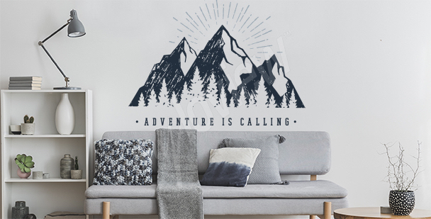 Typographic mountain sticker