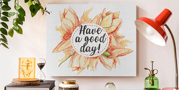 Typography and flowers canvas print