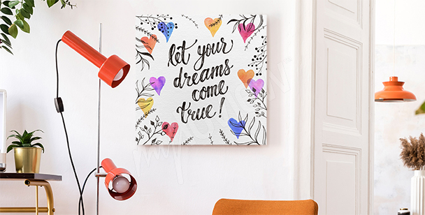 Typography canvas print for dreamers