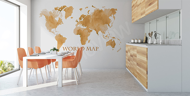 Vintage-effect world map sticker