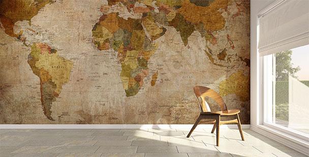 Vintage map mural