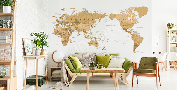 Vintage map sticker for the living room