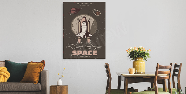 Vintage space motif canvas print