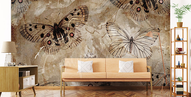 Vintage-style butterfly mural