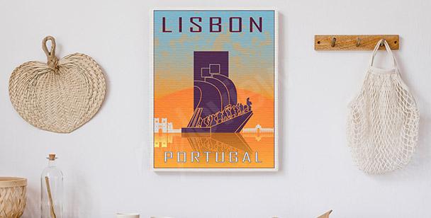 Vintage-style Lisbon canvas print