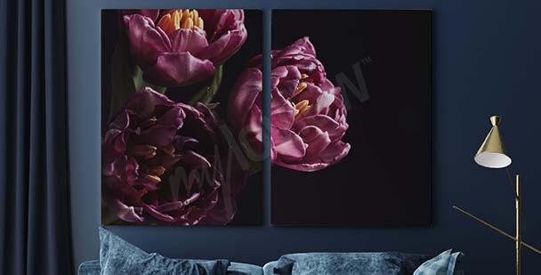 Violet bouquet of flowers canvas print